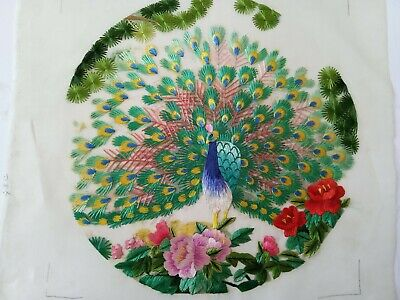 Chinese Double-sided hand embroidered Suzhou embroidery silk art:peacock peony