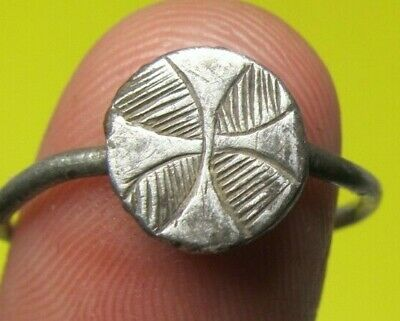 Authentic Medieval Knights Templar Cross Bronze Ring Old European Crusader Times