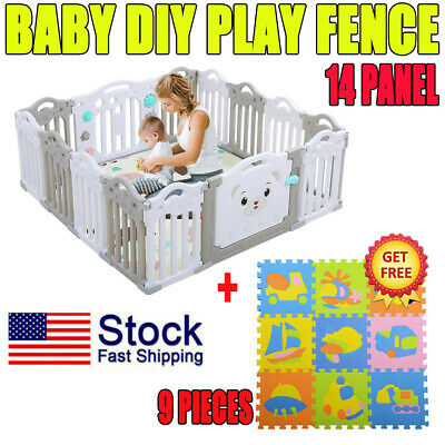 14 Panel Baby Safety Play Yards Kids Folding Playpen Activity Center Fence US TW