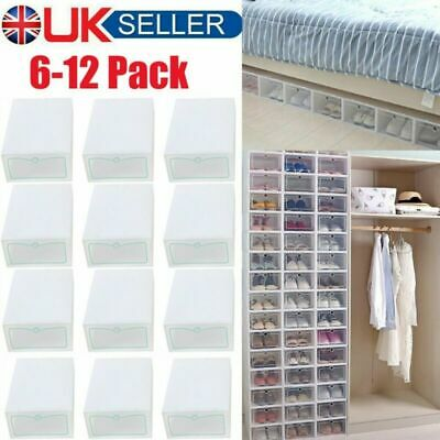 12x Clear Plastic Shoe Storage Boxes Drawer Durable Stackable Foldable Organiser