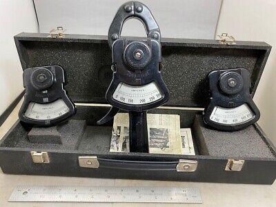 COLUMBIA ELECTRIC TONG TEST AMMETER, 3 Scale Ranges, Instructions Case FREE SHIP