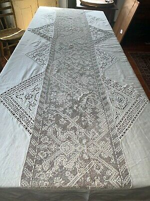 "Antique Mixed Lace Italian Heavy Linen Banquet Tablecloth 150"" x 95"" Creatures"