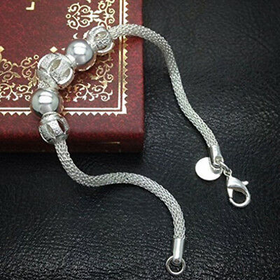 Ladies Fashion Silver Plated Chain Jewelry Charm Flower Bead Bracelet Women Gift