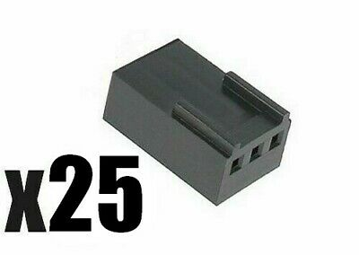 Lot of 25pc 3-Pin 2510 Molex Style Black Crimp Housings (2.54mm)