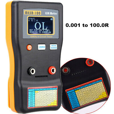 MESR-100 ESR Capacitance Ohm Meter Capacitor Circuit Tester with Test Clips C5S7