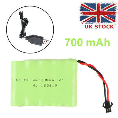 NI-MH Battery 6v 700mAh Battery Pack with SM 2P Plug USB Charger for RC Car Toys