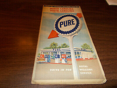 1958 Pure North and South Carolina Vintage Road Map / 58-A