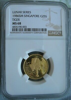 Singapore 1986 SM 1/4oz Gold  25 Singold NGC MS-68 Year Of The Tiger