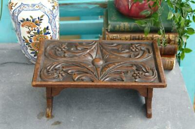 Antique Victorian Arts And Crafts Carved Mahogany Stool Gothic Revival Panel