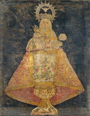 Antique 17th 18th Century Religious Icon Virgin Mary Oil Painting