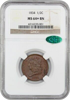1834 1/2c NGC/CAC MS64+ BN - Lovely Type Coin - Lovely Type Coin