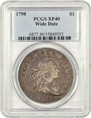 1798 Large Eagle $1 PCGS XF40 (Wide Date) Bust Silver Dollar