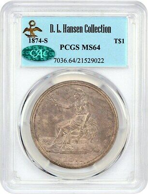 1874-S Trade$ PCGS/CAC MS64 ex: D.L. Hansen - Lovely Near Gem - US Trade Dollar