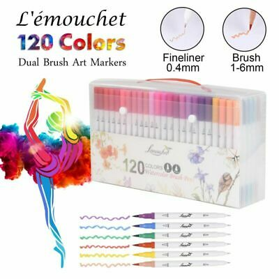 100/120 Colour Watercolor Brush Pens Twin Tip Marker Drawing Painting Artists UK