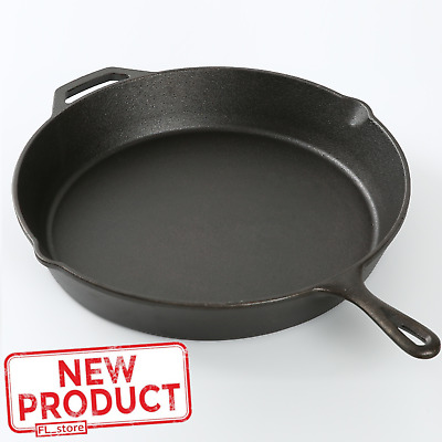 "15"" Cast Iron Skillet Frying Pan Pre Seasoned Cooking Oven Kitchen Cookware Camp"