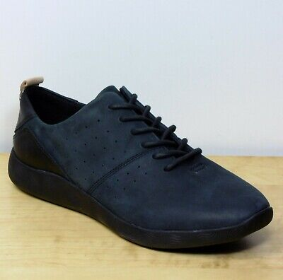 M&S Nubuck LEATHER Ladies Casual TRAINERS ~ Size 6 WIDE ~ Grey Black