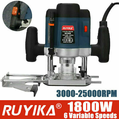 "RUYIKA Heavy Duty 1800W 1/4"" Electric Plunge Router Hand Trimmer Wood Cutter UK"