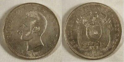 1944 Ecuador Crown Size Silver Coin Five Sucres Mint Mark Mo Mexico City XF++