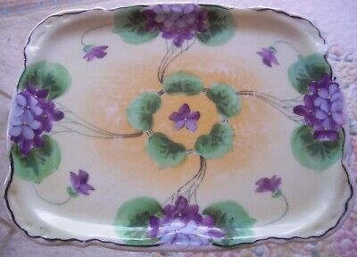 Porcelain Dresser Tray Violets Rectangle Nippon Hand Painted Nippon