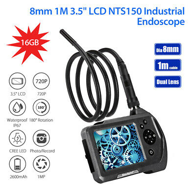 """NTS150 φ8mm Lens 3.5"""" Monitor 6LED Industrial Inspection Endoscope 16GB+1M Cable"""