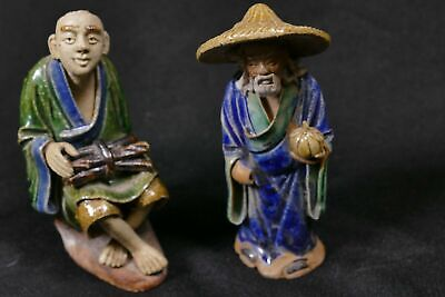 Pair Antique Chinese Asian Mudmen Figurines