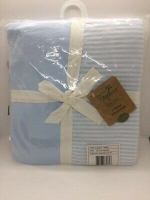 Touched By Nature Organic Cotton Fitted Crib Sheets 2pk Powder Blue