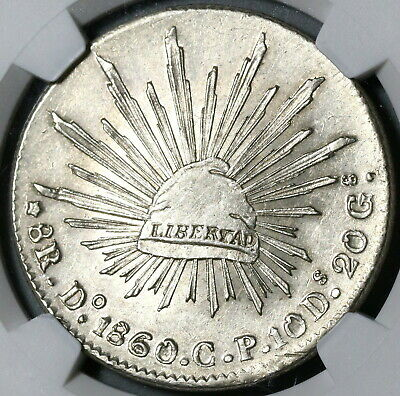 1860-Do NGC MS 62 Mexico 8 Reales Durango Mint Scarce Silver Coin (20050901C)