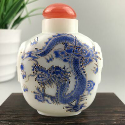 Chinese Antique Snuff Bottle Old Beijing Glass Hand-Painted Dragon And Phoenix
