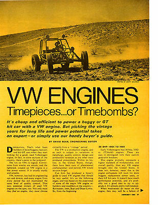 1969 Volkswagen / Vw Engines ~ Original 4-Page Article / Ad