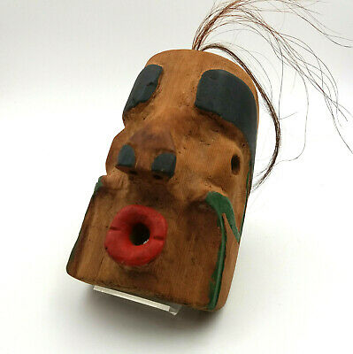 Northwest Coast Alaska Hand Carved Painted Tlingit Style Wood Mask Signed
