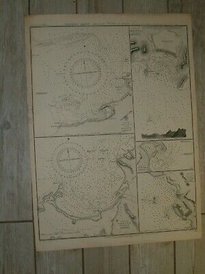 Vintage Admiralty Chart 2079 WEST INDIES - ANTILLES - PLANS OF PORTS 1851 edn