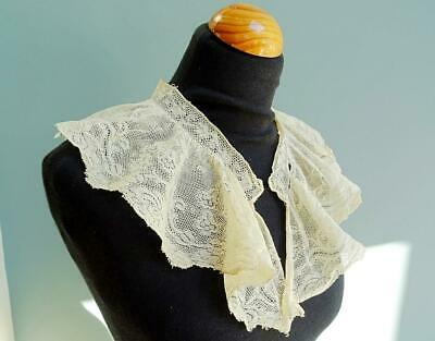 Antique Lace Collar Victorian Cream Floral Edwardian Ladies Frill Bluebells