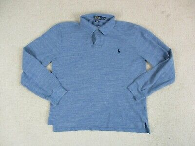 Ralph Lauren Polo Shirt Adult Large Blue Long Sleeve Slim Rugby Casual Mens