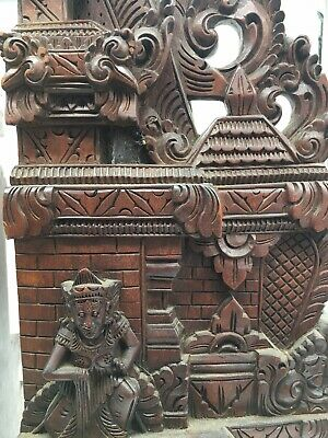 Vintage Antique Balinese Asian Bookends Temple Carved Wooden Ornate Relief