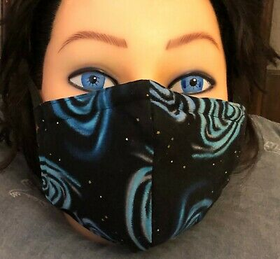 Washable 100% Cotton Face Mask Black Galaxy nose wire filter pocket elastic ties