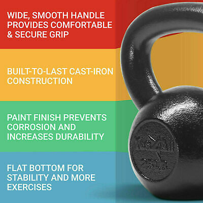 Yes4All Cast Iron Kettlebells Weight 5 to 50 Lbs Lifting Training Strength Gym