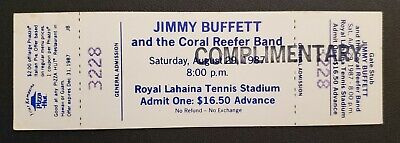 Jimmy Buffett & the Coral Reefer Band Unused Concert Ticket in Lahaina 08/29/87