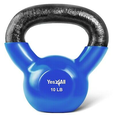 Kettlebell 10 lbs Weights Lifting Workout Gym Fitness PVC Coated Kettlebells