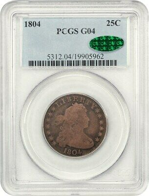 1804 25c PCGS/CAC Good-04 - Key Date Early Draped Bust Quarter - Bust Quarter