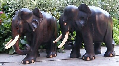 "Two Vintage 6"" Rosewood Elephants - Hand Carved"