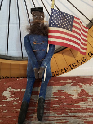 Primitive Handmade Americana Black Civil War Soldier Doll