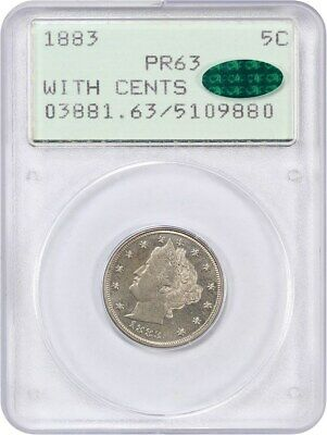 1883 5c PCGS/CAC PR 63 (With Cents, OGH Rattler Holder) Liberty V Nickel