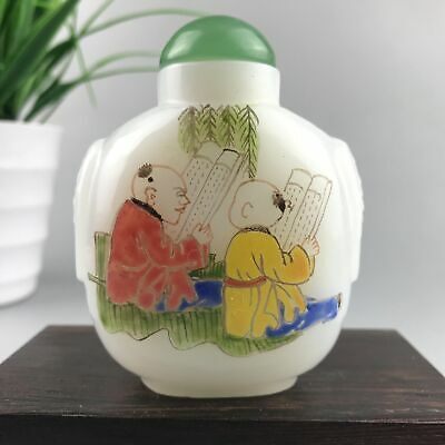 Chinese Antique Snuff Bottle Old Beijing Glass Hand-Painted Children