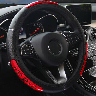 1x 15''/38cm Anti-slip PU Leather Car Steering Wheel Cover Protector Accessories