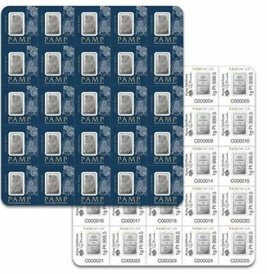 Avc- 1 Gram Pamp Suisse Lady Fortuna Platinum Bar 999.5 Fine In Assay