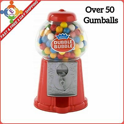 Classic Vintage Red Bubble Gum Machine Bank 50 Gumball Included Candy Dispenser