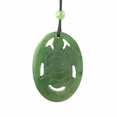 Genuine Natural Green Nephrite Jade Oval Carved Turtle Pendant Necklace w/ Cord