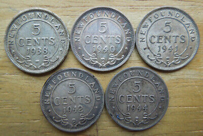 Newfoundland Canada 1938-1944 Five 5 Cents King George VI Silver Coins