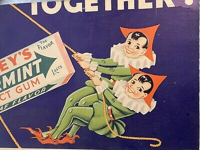 Vtg 1930's Wrigley's Gum Double Mint Twins Partial Display Ad Litho