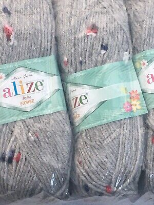 ALIZE BABY FLOWER,PRETTIEST BABY KNITTING YARN 500 Grams 5 Balls 5808